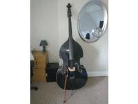 Black 3/4 Double Bass Carlo Giodarno set up w/ adjustable bridge