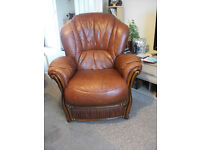 Faux leather traditional armchair Tan coloured