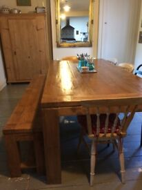 Huge recycled oak dining table and bench