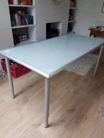 Lovely Ikea silver and glass dining table/ desk with adjustable legs