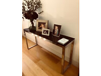 Beautiful Console Table with 10mm black glass top.