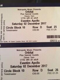 2 x ORBITAL LONDON TICKETS (SEATED) - SATURDAY 2 DECEMBER