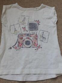 Girls pink and white tshirt