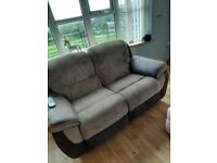 3 seater, 2 seater reclining and swivel cuddle chair, cord suede brown