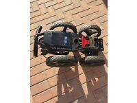 4 wheel sun mountain Golf trolley and mizuno cart bag