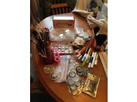 Large collection of nail art items, brushes, striping tape, tools, tape, glitter etc