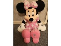 Large pink Minnie mouse soft toy, Disney store.
