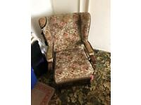 Vintage tapestry covered rocking chair