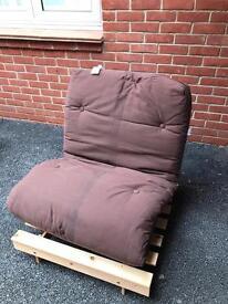 Futon - single, wooden frame with dark brown mattress