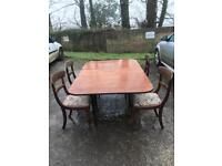 Solid wood drop leaf dining table with 4 chairs , or 8 , *free delivery*