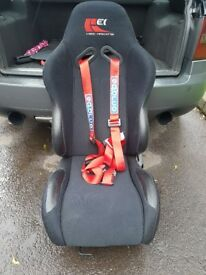 Excellent condition reclining pair of KEI Racing bucket seats and runners