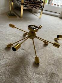 2x Modern Sputnik Ceiling Light 8-Light Brushed Brass with 20 bulbs included