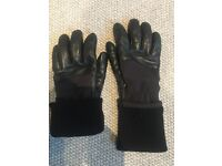 Victorinox Mens black leather gloves with merino wool roll cuff warm face and fill lining