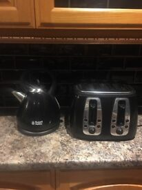 Russell Hobbs kettle and 4 slice toaster in black