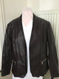 Burgundy Leather Look Jacket (as new) Size 18