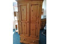 Pine 1 drawer wardrobe