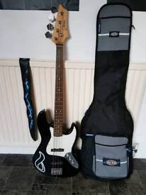 bass guitar, gig bag and strap