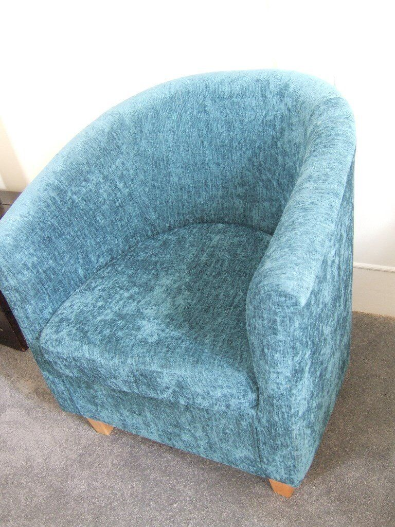 Tub Chair in Teal Chenille fabric. | in Norwich, Norfolk | Gumtree