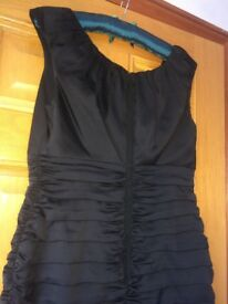 Coast Nikita ruched knee length little black dress, size 14, never worn