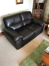 Oakland brown leather settee