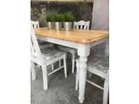 Pine table and chairs shabby chic