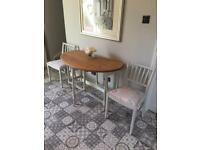 Restored kitchen/dining table & 2 Ercol chairs