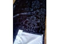 PAIR OF BLACK DAMASK CURTAINS