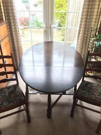 Solid wood folding leaf table + 2 chairs