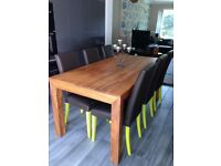 Mango wood dining table & 6 chairs for sale £300