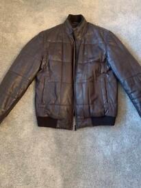 Boss men's light black padded leather jacket