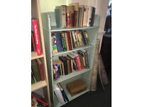 Charming Traditional Vintage Slim Painted Wooden Beaded Open Bookcase - Four Shelves