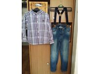 BOYS SHIRT AND JEANS WITH SUSPENDERS AGE 5