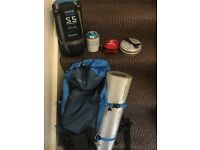 Camping rucksack and sleeping bag etc