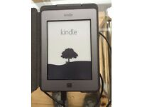 Kindle Touch with leather case and in-built light