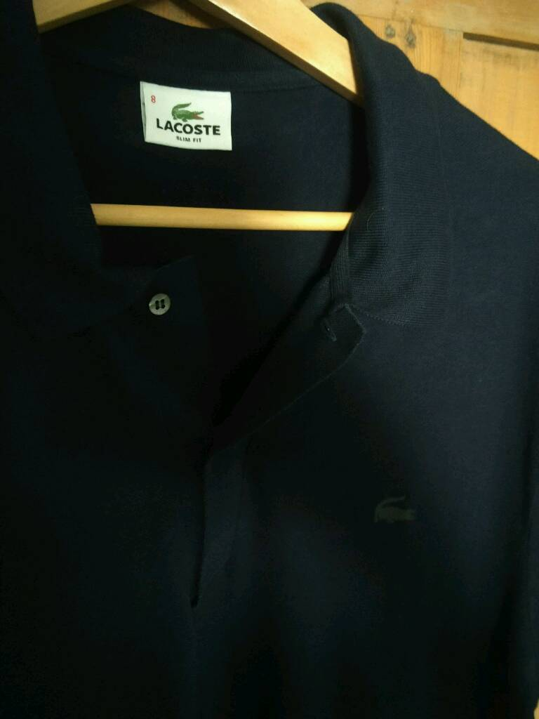 Lacoste Mens Polo Shirt Navy Slim Fit Size 8 In Wimbledon