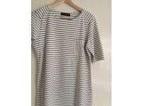 Dress white with blue stripe