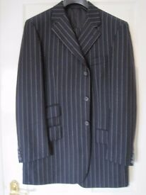 "Mens Navy Pin Stripe Suit 35""W 30L Chest 41R Hardly worn"