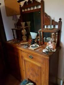 Edwardian oak vintage mirror back sideboard dresser