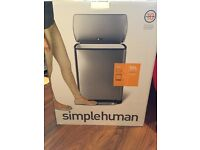 *Brand New* Simple Human 50L Rectangular Stainless Steal Pedal Bin