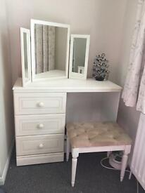 Cream dressing table with bifold mirror and stool
