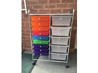 Mobile Craft Trolley, 15 draw Multi-storage trolley on wheels with flat tray top.