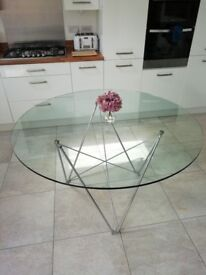 Circular Glass Dining Table with Chrome Zigzag legs (seat 6)