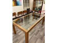 Solid glass wood dining table