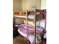 Pine wood bunk bed great condition with two clean matress, smoke free and pet free home