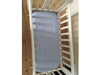 Perfect crib package! Cost £143! With mattress, mattress protector, 4 fitted sheets. As new!