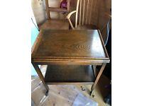 Oak trolley/card table