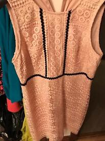 Florence and Fred pink and black lace dress size 14