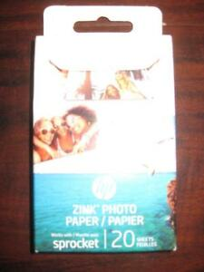 """HP ZINK 2"""" x 3"""" Sticker back Photo Paper, 20/ Pack for HP Sprocket Wireless Portable Printer. Water Resistant. Corlor"""