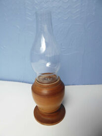 Lantern ornament. Artisan wood turned base. Vintage. Great feature piece.