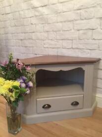 Gorgeous oak corner TV cabinet / stand farrow & ball. Grey